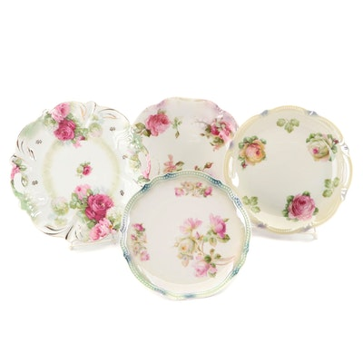 German Porcelain Rose Motif Handled Cake and Dessert Plates, Early 20th Century