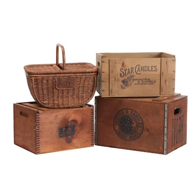 Procter & Gamble Wooden Crates and Woven Picnic Basket, Early to Mid-20th C.