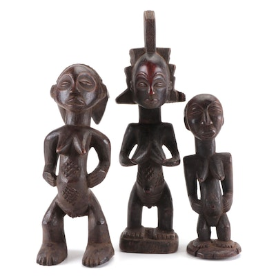 Luba Style Hand-Carved Wood Female Figures, Central Africa