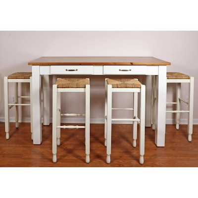 Pottery Barn Counter Height Table and Four Woven Rush Seat Barstools