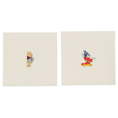 """Hand-Colored Lithographs """"Winnie the Pooh"""" and """"Fantasia Mickey"""""""