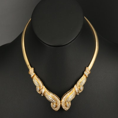 18K 6.55 CTW Diamond Scrollwork Collar Necklace