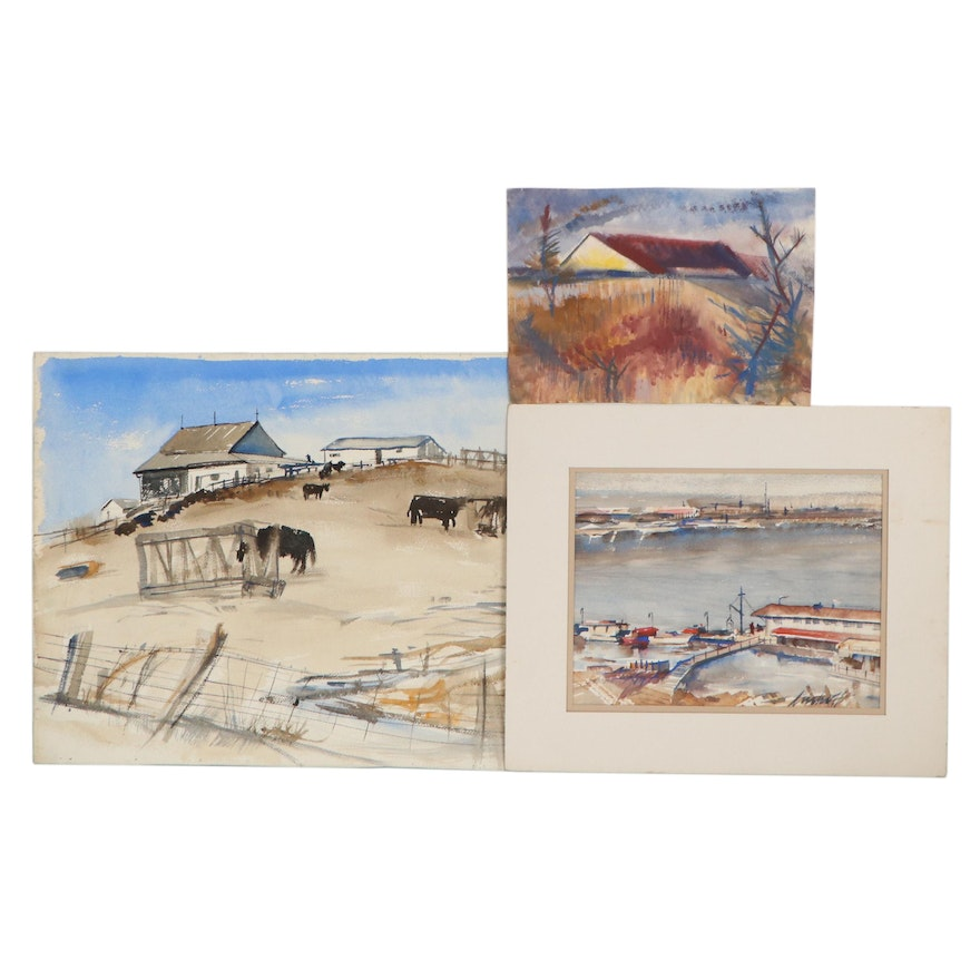 John Imhoff Watercolor and Gouache Paintings of Landscapes and Harbor Scene