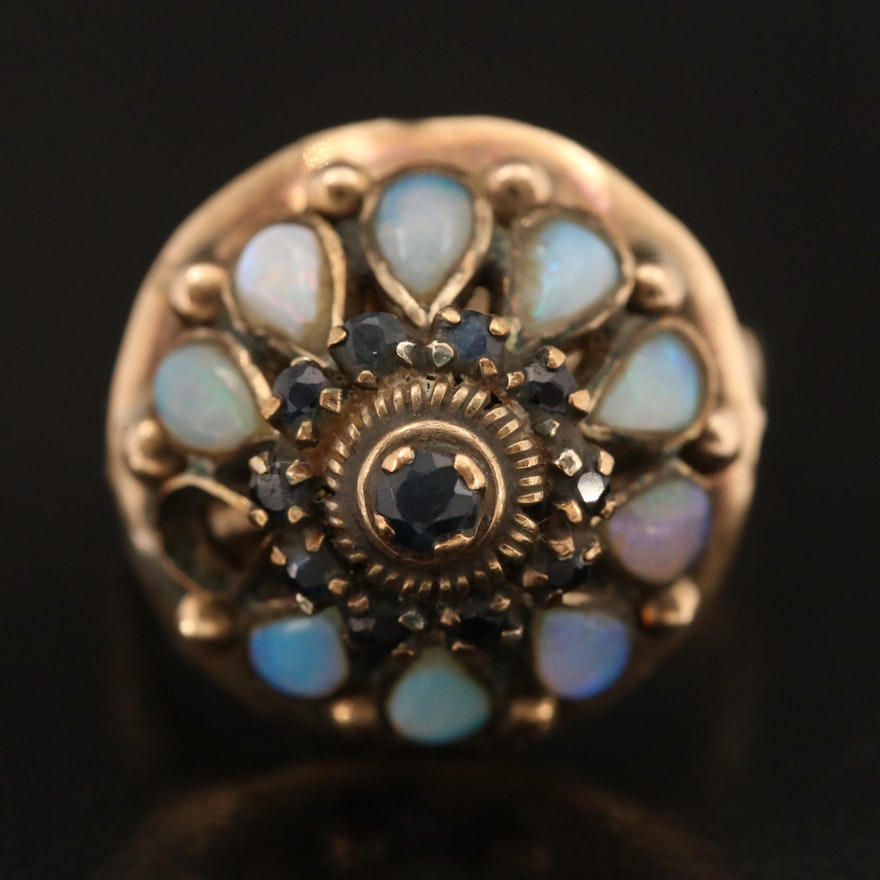10K Sapphire and Opal Princess Ring