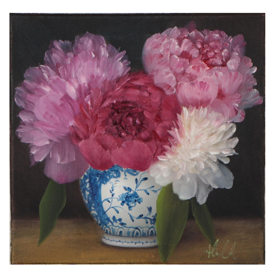 """Thu-Thuy Tran Oil Painting """"Spring Peony Bouquet"""""""