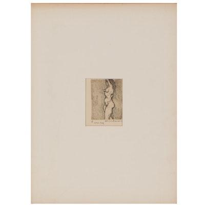 Leonard Maurer Etching of Female Nude, 1963