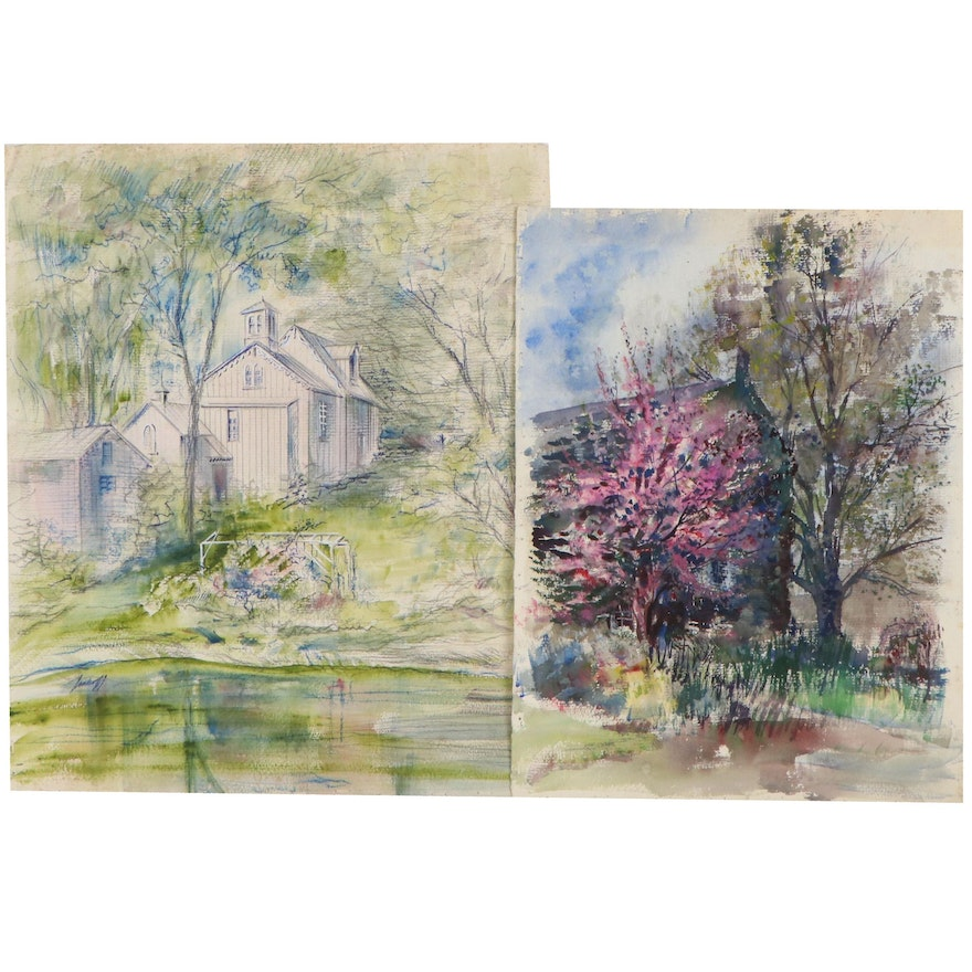 John Imhoff Landscape Watercolor Paintings With Churches, Mid-20th Century