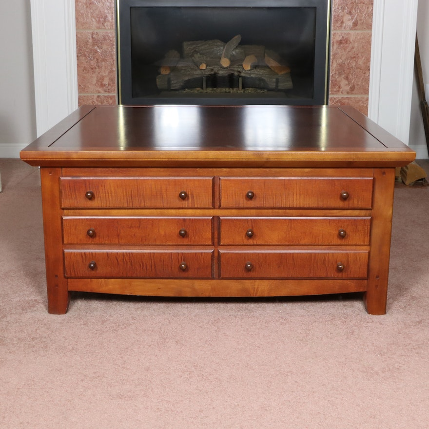 J.G. Hook by Bassett Furniture Maple-Finish Coffee Table