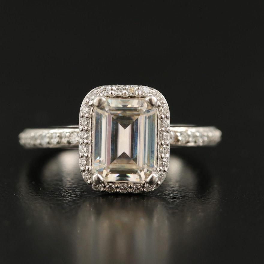 Platinum Moissanite and Diamond Ring