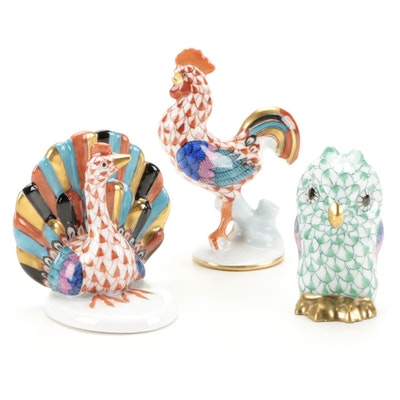 Herend Rust Fishnet Rooster and Turkey and Green Fishnet Owl Figurines