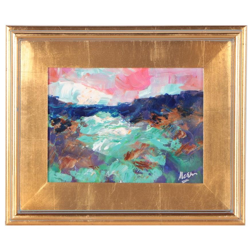 "Claire McElveen Acrylic Painting ""River Delta,"" 2021"