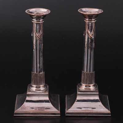 Pair of English Column and Tassel Silver Plate Candlesticks, 19th Century