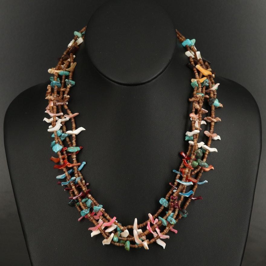 Southwestern Style Turquoise and Shell Fetish Bird Multi Strand Necklace