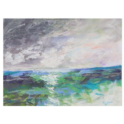 """Claire McElveen Mixed Media Painting """"Reflective"""""""