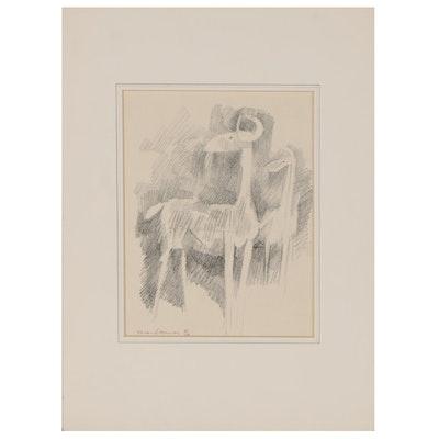 """Leonard Maurer Charcoal Drawing """"Goats,"""" 1964"""