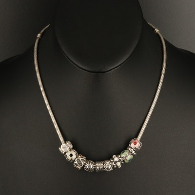 Pandora Sterling Charm Necklace Featuring Enamel and Glass