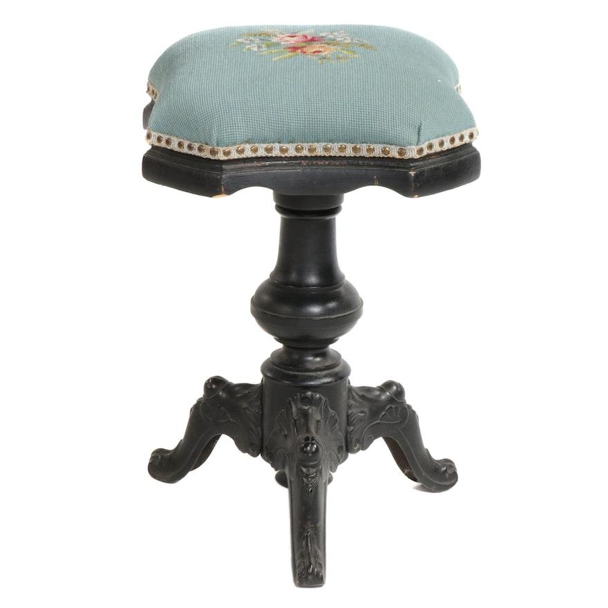 Upholstered Needle Point Swivel Stool, Circa 1880
