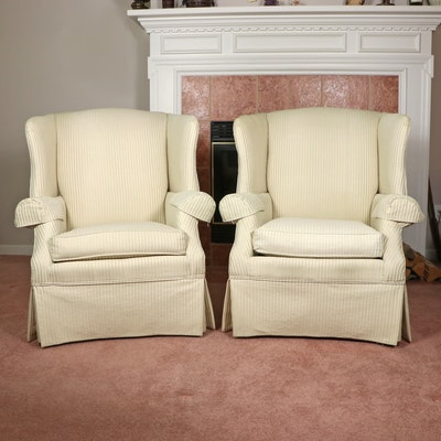 Pair of Broyhill Queen Anne Style Wingback Armchairs
