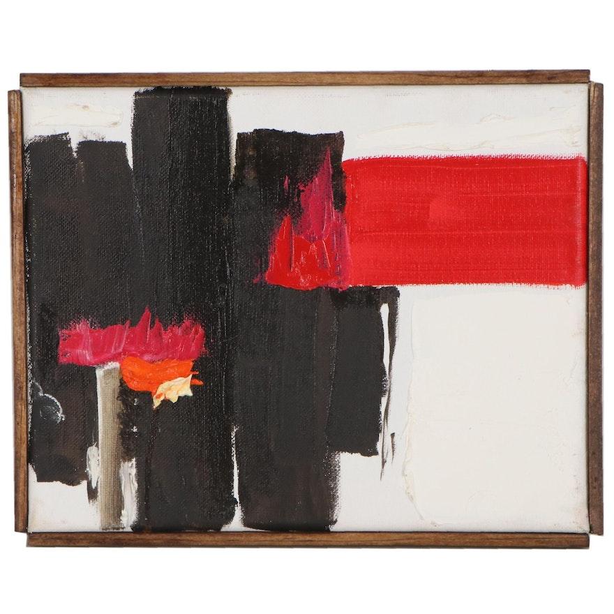 """Robert Lackney Abstract Acrylic Painting """"Redblack"""""""