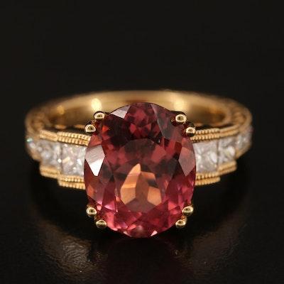 18K 6.17 CT Tourmaline and Diamond Ring