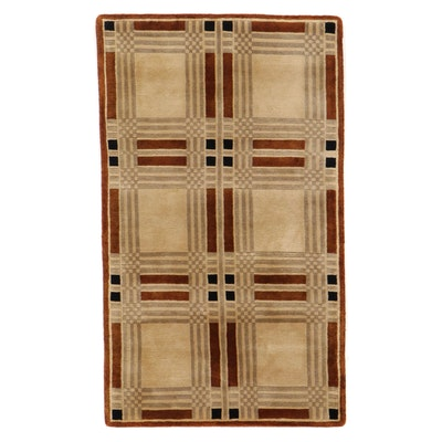 2'11 x 5' Hand-Knotted Indian Modern Style Accent Rug