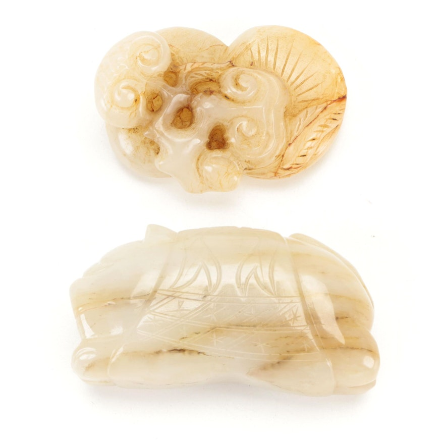 Chinese Nephrite Cat and Plant Form Figurines
