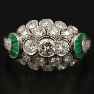 Art Deco Platinum 1.15 CTW Diamond and Emerald Ring