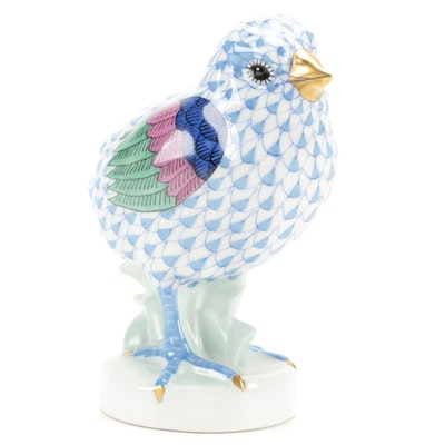"""Herend Blue Fishnet with Gold """"Chicken"""" Porcelain Figurine, March 1996"""
