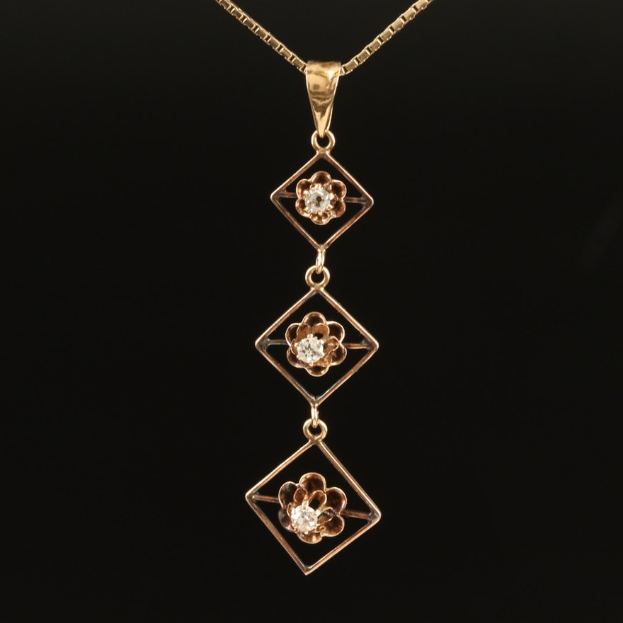 Antique 10K Buttercup Set Diamond Pendant on 14K Box Chain Necklace