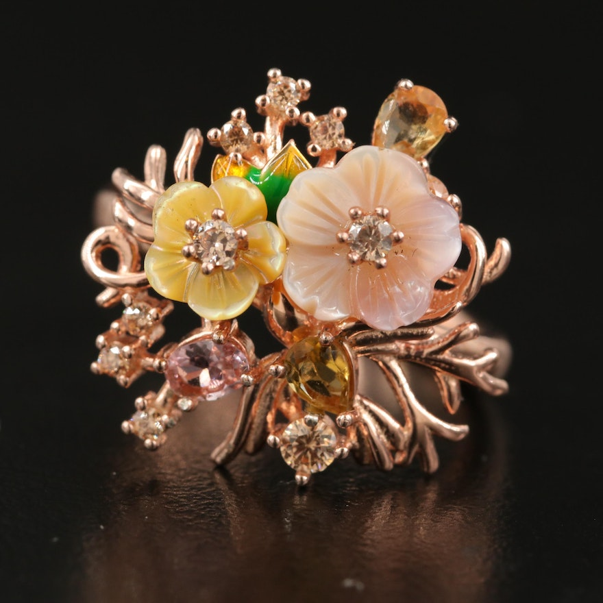 Sterling Mother of Pearl, Citrine and Morganite Floral Ring