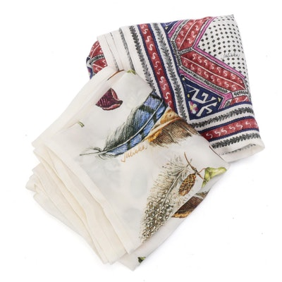 Juliska Tangier and Forest Walk Silk Scarves with Boxes