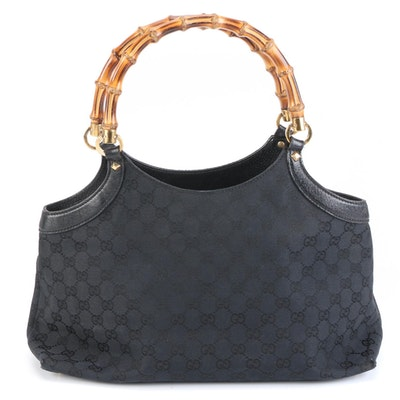 Gucci Bamboo Tote in GG Canvas and Black Leather