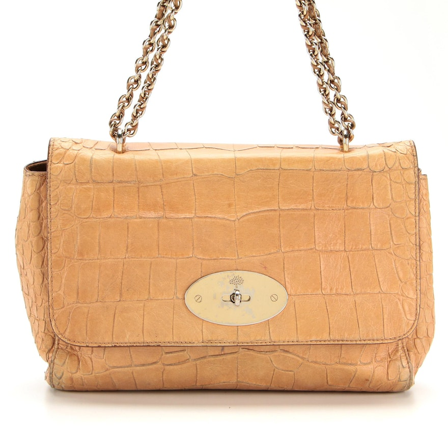 Mulberry Lily Shoulder Bag in Embossed Leather with Chain Strap
