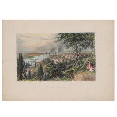 "William Wellstood Hand-Colored Engraving ""City of Cincinnati,"" 1872"