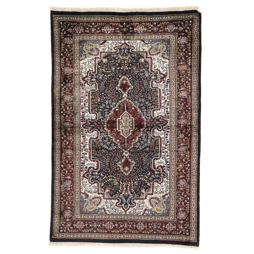 4' x 6'5 Hand-Knotted Indian Art Silk Area Rug