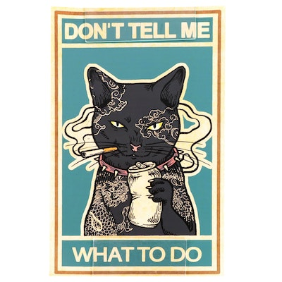 Contemporary Giclée of Black Cat With Cigarette, 21st Century
