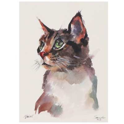 Marina Lebed Watercolor Painting of Cat, 2020
