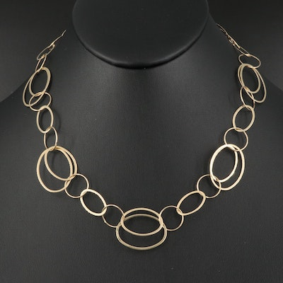 14K Oval and Circle Link Necklace