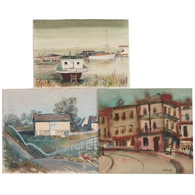 John Imhoff Watercolor Paintings of Landscapes and Harbor Scene
