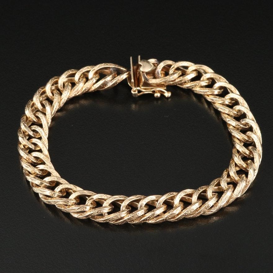 14K Patterned Curb Chain Bracelet