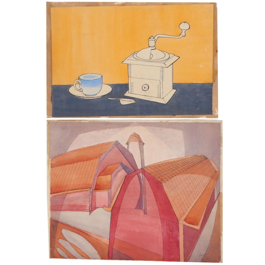 John Imhoff Modernist Style Watercolor Painting, Mid-20th Century