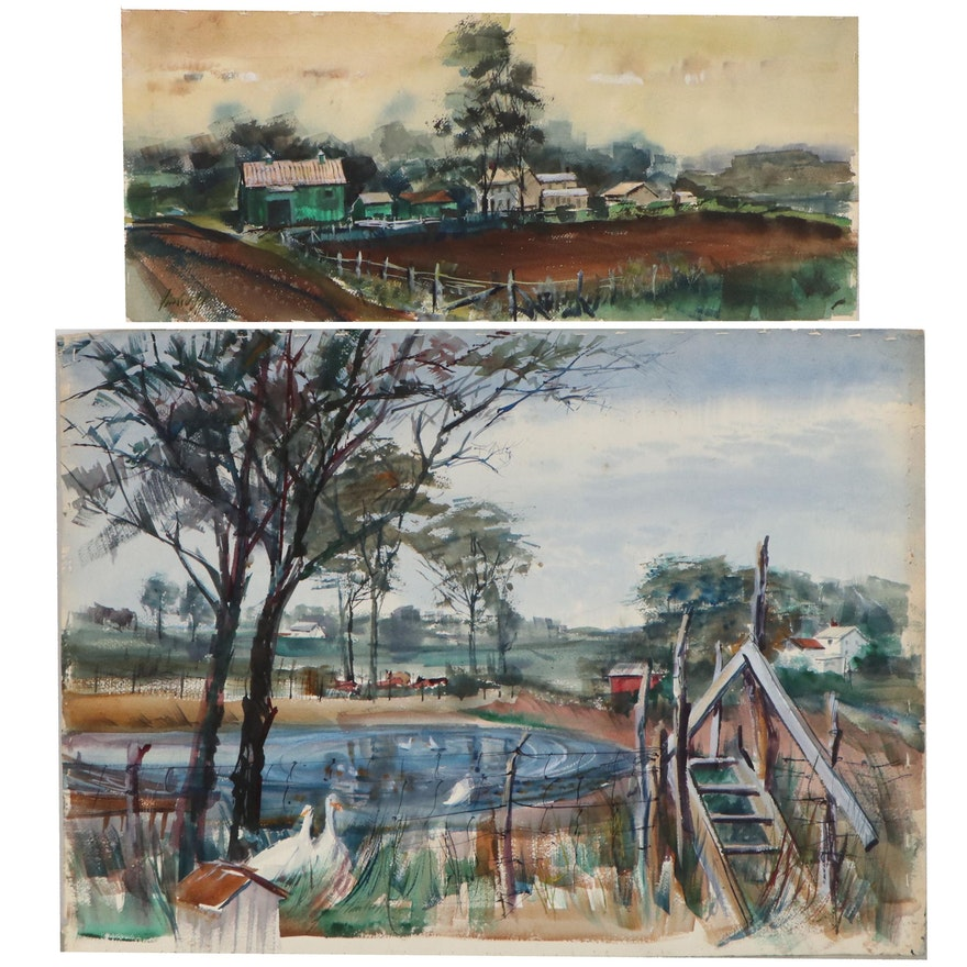John Imhoff Farm Landscape Watercolor Paintings, Mid-20th Century