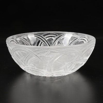"""Lalique """"Pinson"""" Frosted Crystal Bowl, Mid to Late 20th Century"""