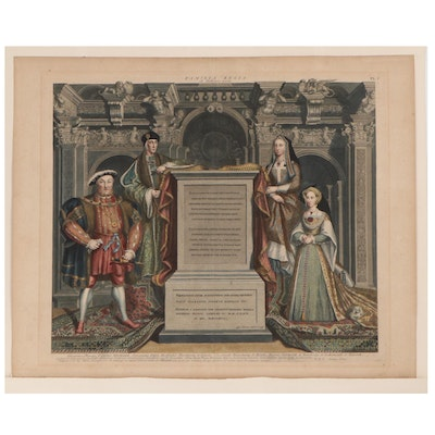 George Vertue Hand-Colored Engraving of King Henry VIII and Family