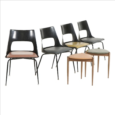 Four Mid Century Modern Krueger Molded Fiberglass Chairs with Two Side Tables