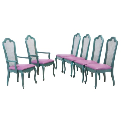 Six Venetian Style Painted and Caned Dining Chairs, Early 20th Century
