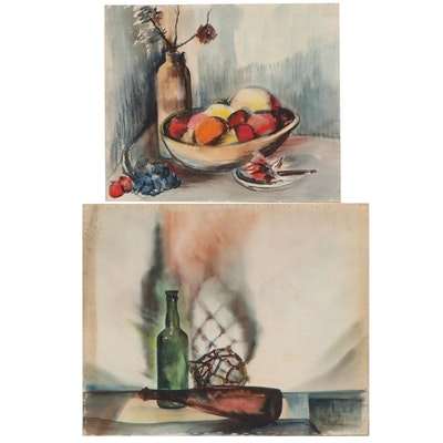 John Imhoff Still Life Watercolor Paintings, Mid-20th Century