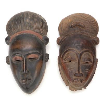 Baule Style Carved Wood Masks, West Africa