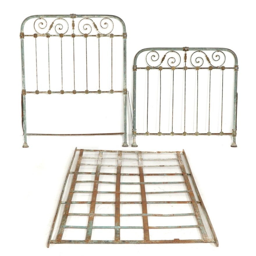 Metal Twin Bed Frame, Early to Mid 20th Century