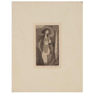 "Leonard Maurer Aquatint ""Nude,"" 1962"